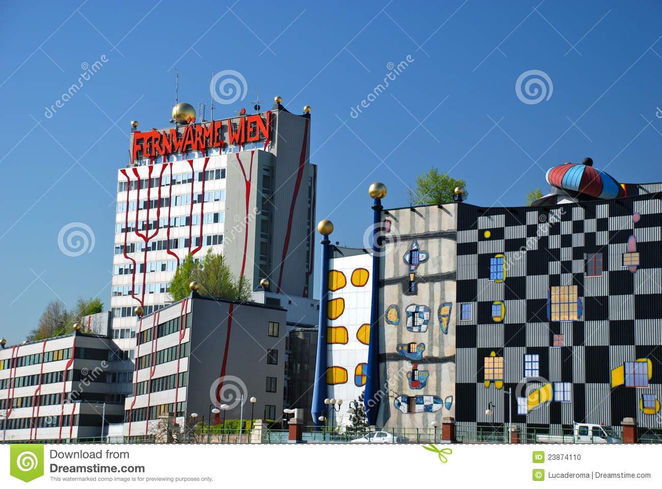 Hundertwasser District Heating Plant In Vienna Editorial Image.