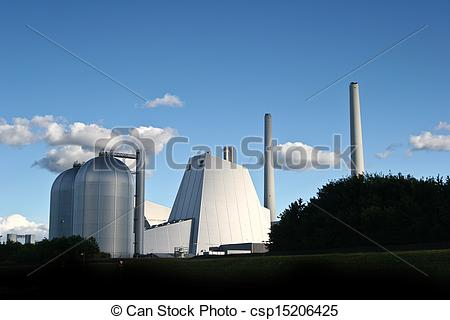 Stock Photo of Modern District heating plant in Denmark.