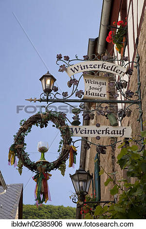 """Stock Images of """"Inn sign, wine for sale, wine tavern, Beilstein."""