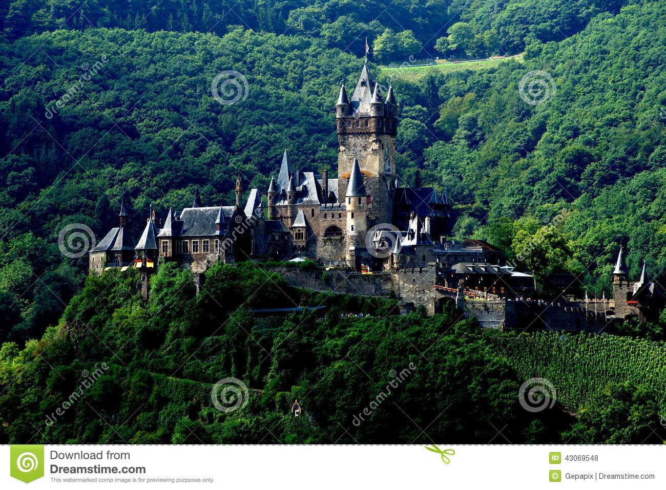Imperial Castle Of Germany At Cochem Stock Photo.