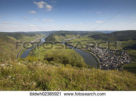"""Stock Photography of """"Loop of the Moselle river and the town of."""