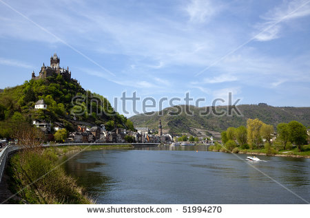 A View On The Mosel From Cochem Castle Stock Photos, Royalty.