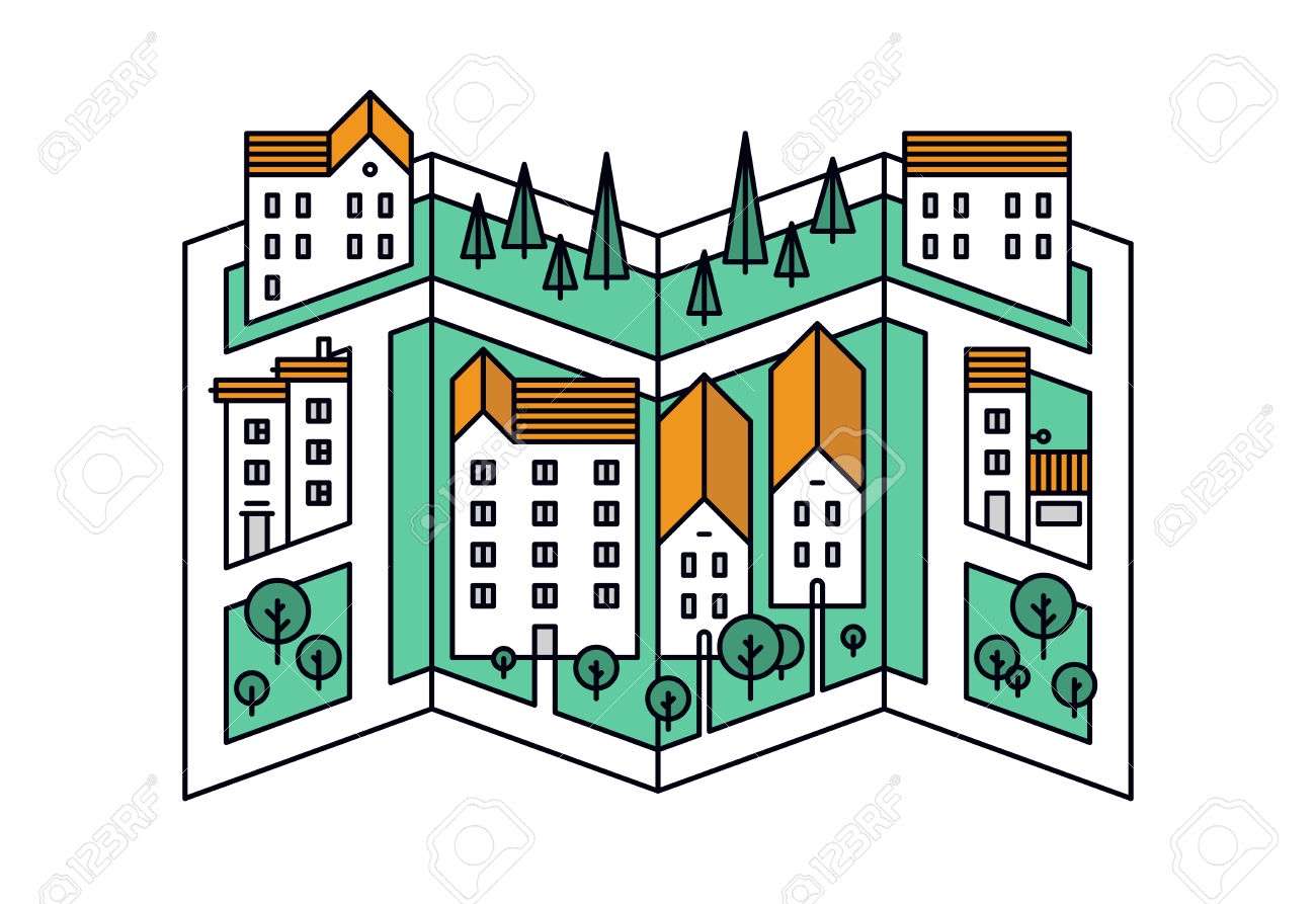 Thin Line Flat Design Of Street Map Of Small Town, City District.