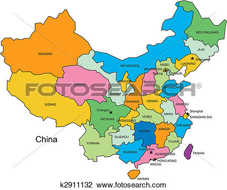 Clipart of China with Administrative Districts k2911132.