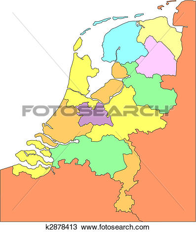 Clipart of Netherlands with Administrative Districts and.