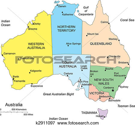 Clip Art of Australia with Administrative Districts k2911097.