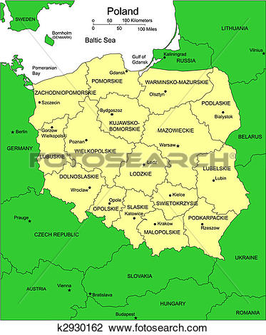 Clipart of Poland with Administrative Districts and Surrounding.
