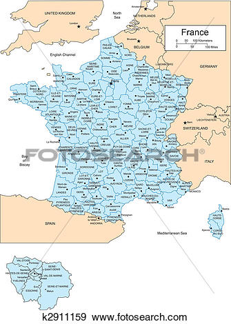 Clip Art of France with Administrative Districts and Surrounding.