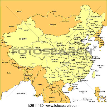 Clipart of China with Administrative Districts and Surrounding.