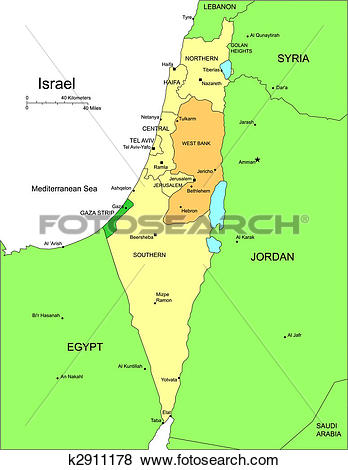 Clip Art of Israel with Administrative Districts and Surrounding.