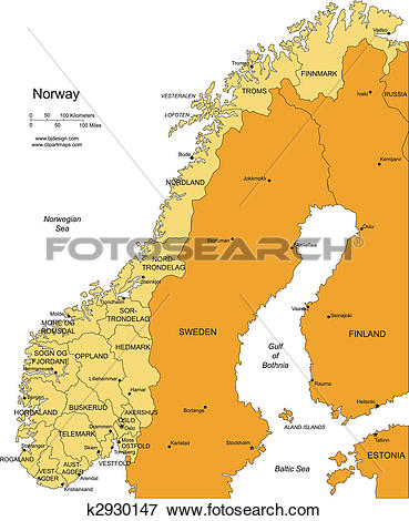 Clip Art of Norway with Administrative Districts and Surrounding.