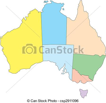 Clip Art Vector of Australia with Administrative Districts.
