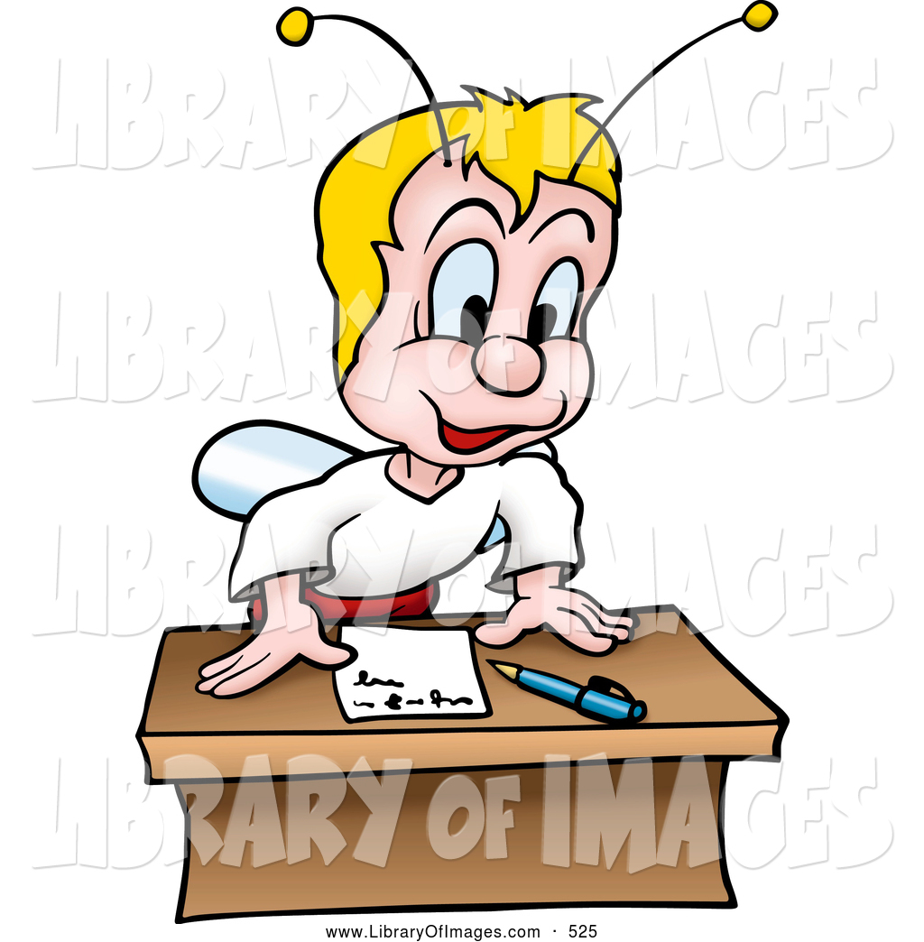 Clip Art of a Somewhat Disturbing Blond Fly Bug Standing up.