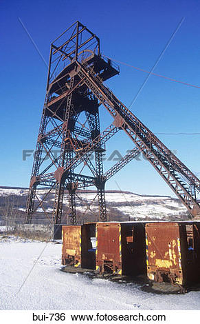 Stock Images of Disused Coal Mine Crynant Wales UK bui.