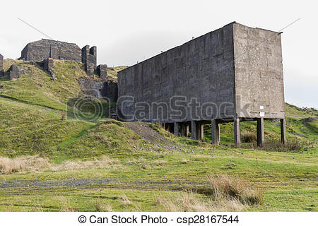 Stock Photo of Clee Hill disused stone quarry loading bay.