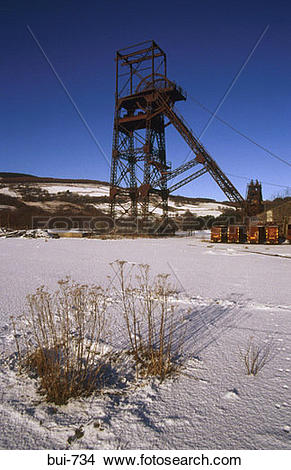 Stock Photo of Disused Coal Mine Crynant Wales UK bui.