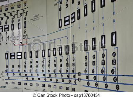 Drawings of Control center in a disused factory csp13780434.
