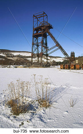 Stock Image of Disused Coal Mine Crynant Wales UK bui.