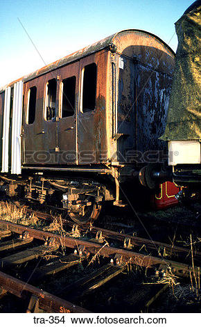 Stock Photo of Front of Disused Railway Carriage tra.