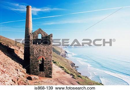 Stock Photograph of Disused tin mine on cornish coast is868.