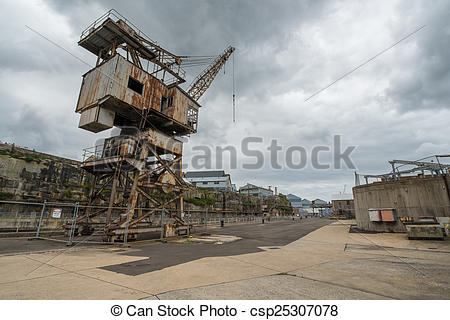Picture of Rusty disused crane on Cockatoo Island docks in Sydney.