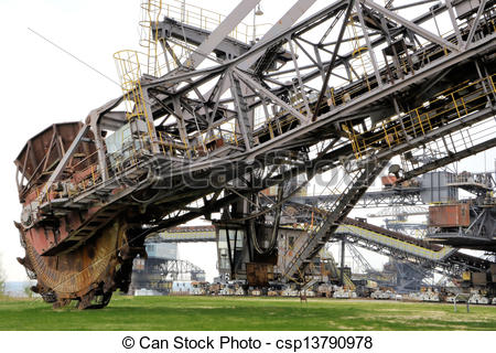 Stock Illustrations of Coal digger is in a disused mine.