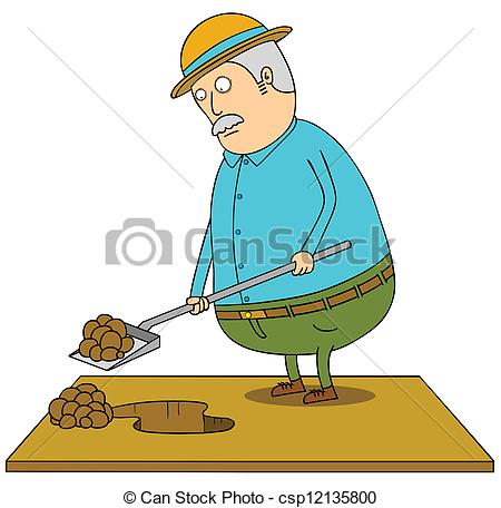 Vector Clipart of digging old fat man csp12135800.