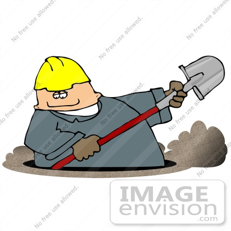 Man in a Hardhat and Coveralls Digging a Ditch Clipart.