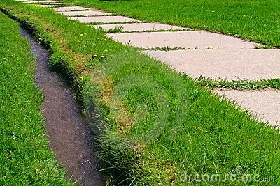 Dry Grass On A Ditch Bank Stock Photo.