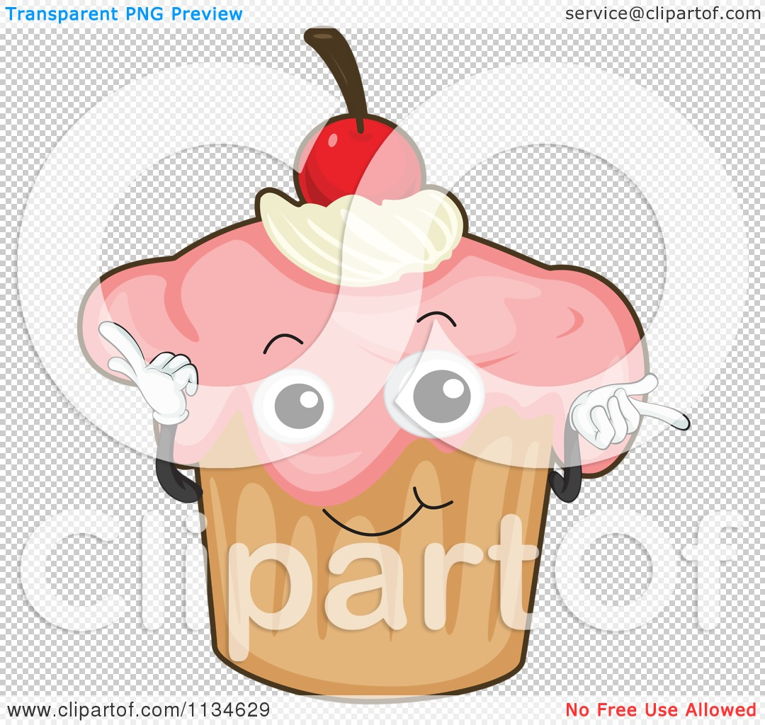 Cartoon Of A Ditzy Cherry Cupcake.