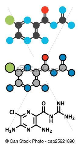 EPS Vectors of Amiloride diuretic drug molecule. Used in treatment.