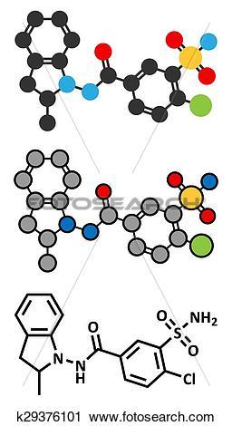 Clipart of Indapamide hypertension drug molecule (diuretic.