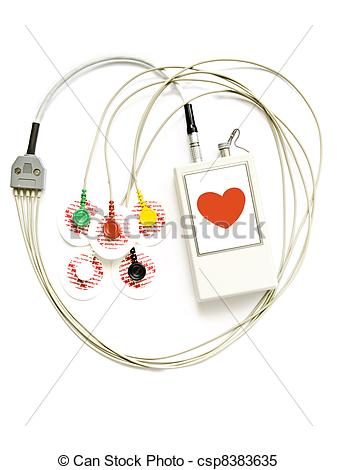 Stock Images of Holter monitor, diurnal rhythm ECG.