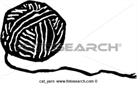 Clip Art Black And White Ball Of Yarn Clipart.