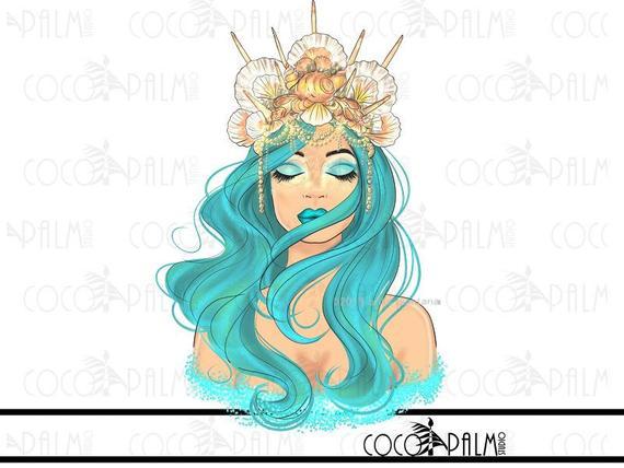 MERMAID CLIPART mermaid crown clipart, fashion illustration clipart.