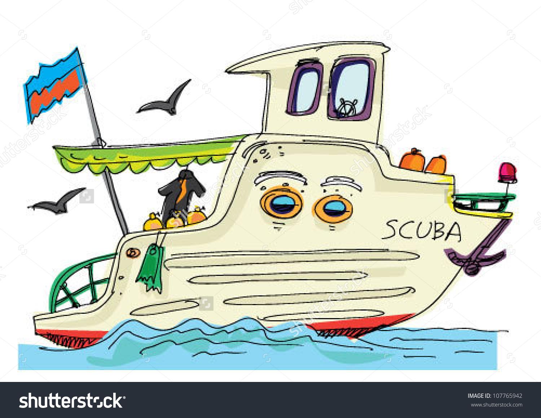 Scuba Diver Boat Cartoon Stock Vector 107765942.