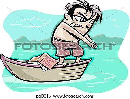 Stock Illustration of A man about to dive from a boat while.