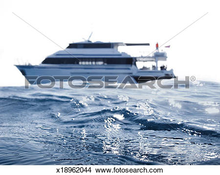 Stock Photo of A dive boat photographed from sea level x18962044.