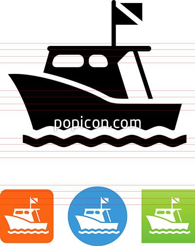 Dive Boat Icon.