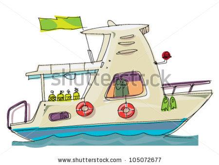 Scuba Diver Boat Cartoon Stock Vector 105072677.