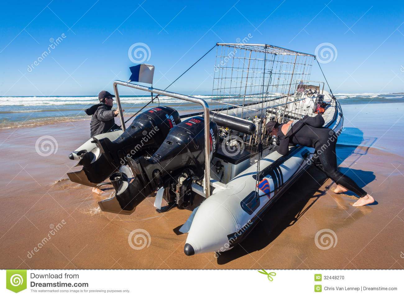 Dive Boat Shark Cage Waves Beach Editorial Image.