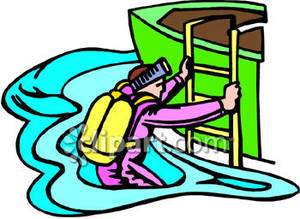 Diver Climbing Into a Boat Royalty Free Clipart Picture.