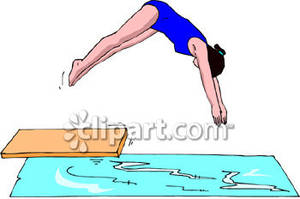 Girl on diving board clip art.