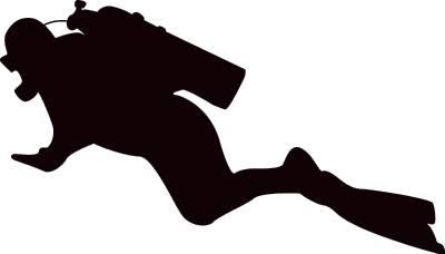 Scuba diver silhouette clipart.