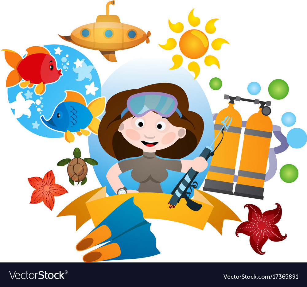 With a female diver clipart on the sea theme.