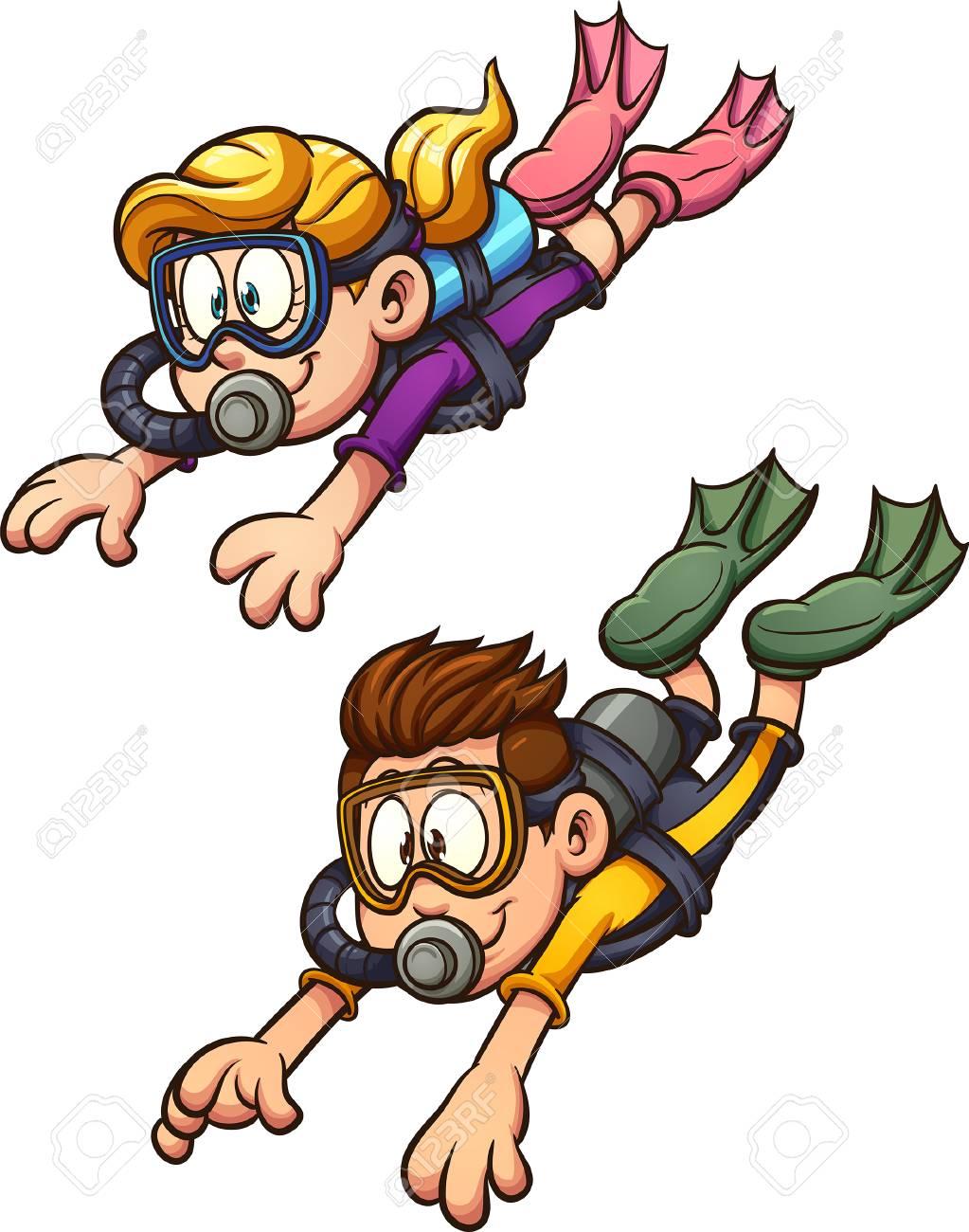 Scuba diving kids. Vector clip art illustration with simple gradients.