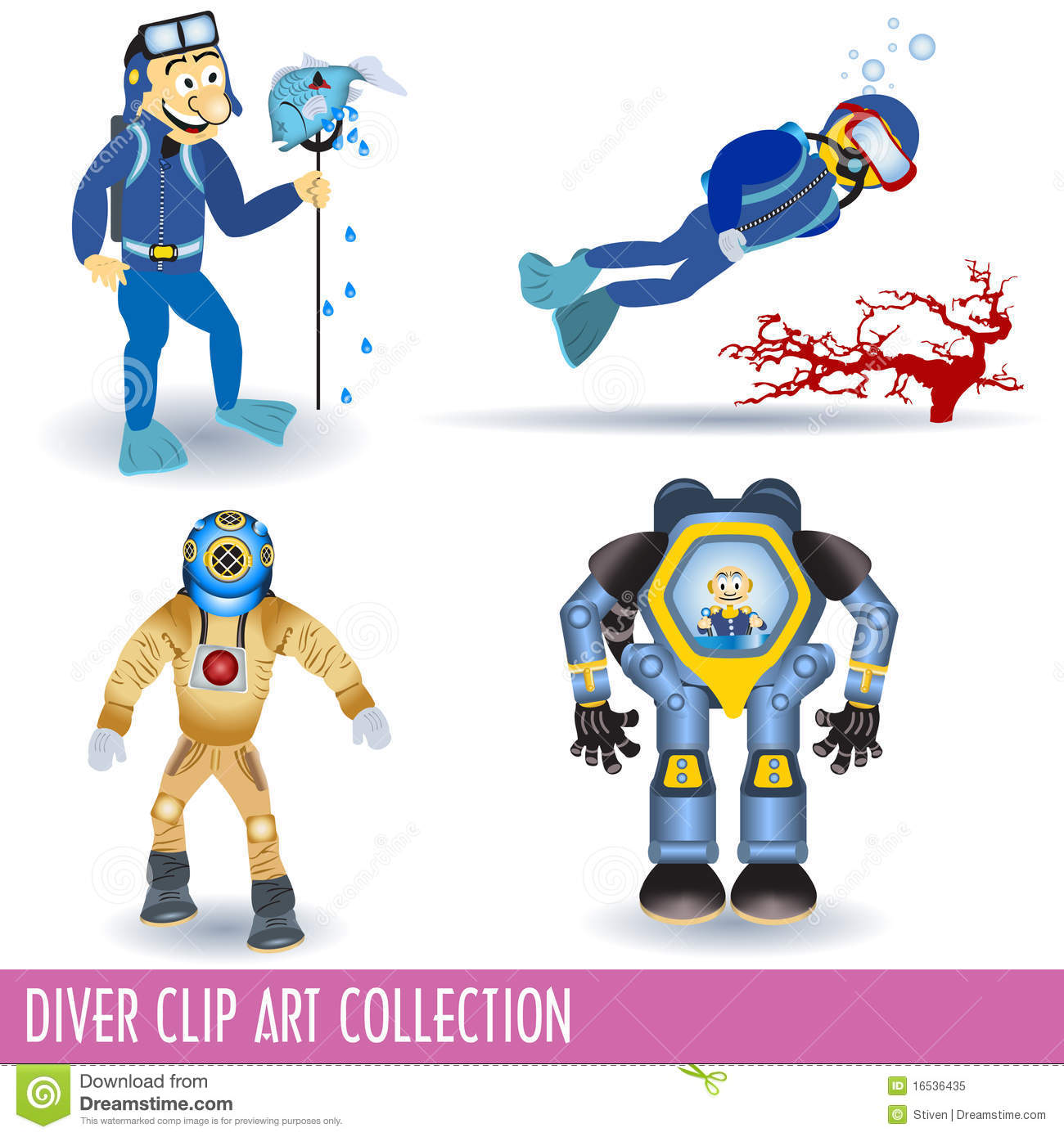 Diver Clip Art Collection Royalty Free Stock Photo.