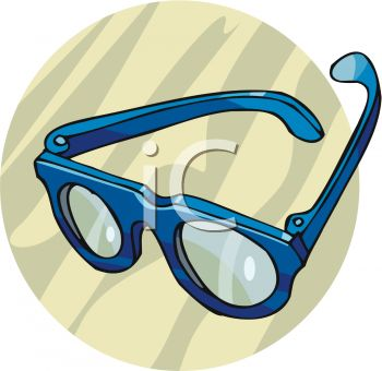 Picture of a Pair of Blue Eyeglasses In a Vector Clip Art.