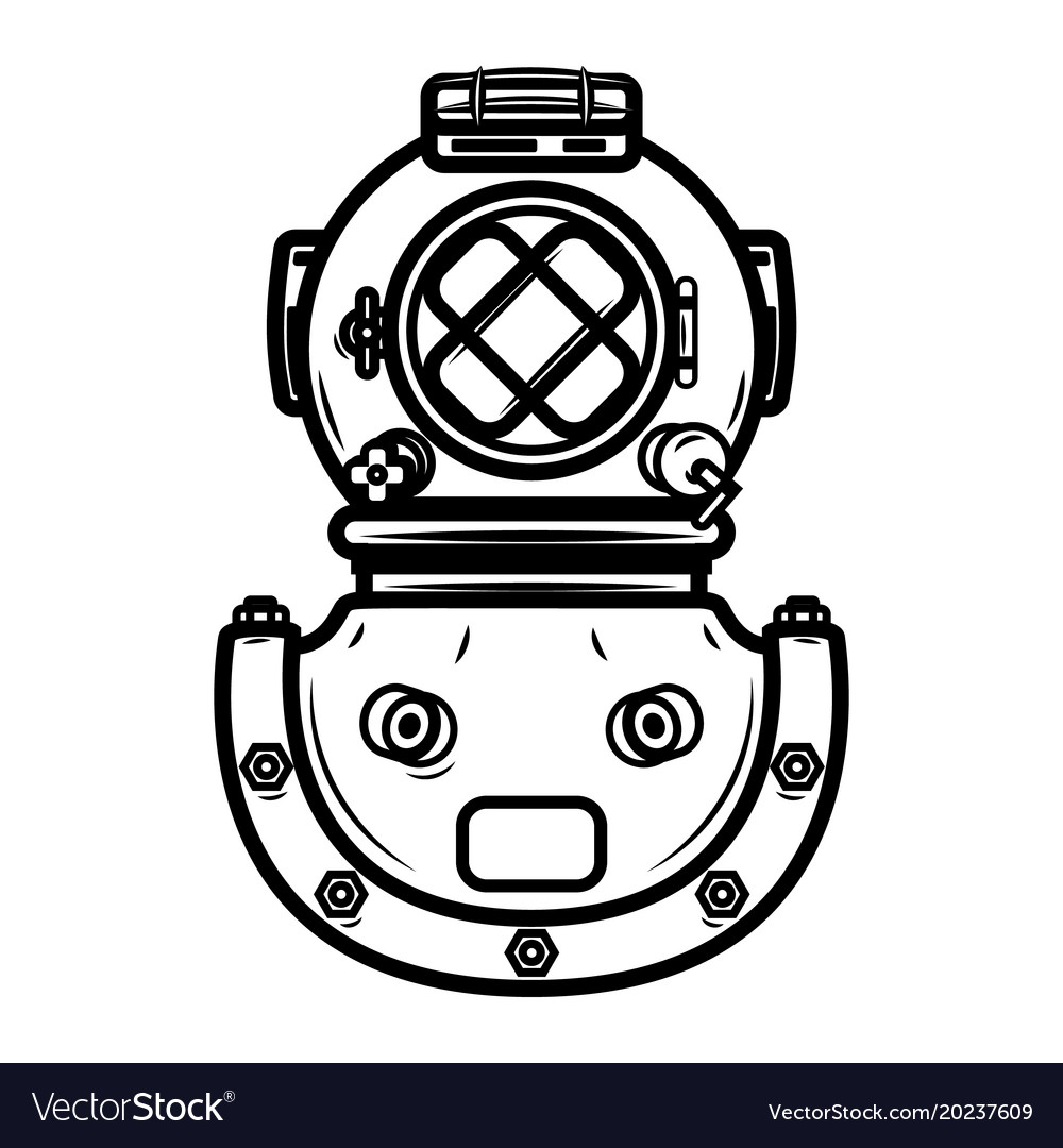 Vintage diver helmet design element for logo.