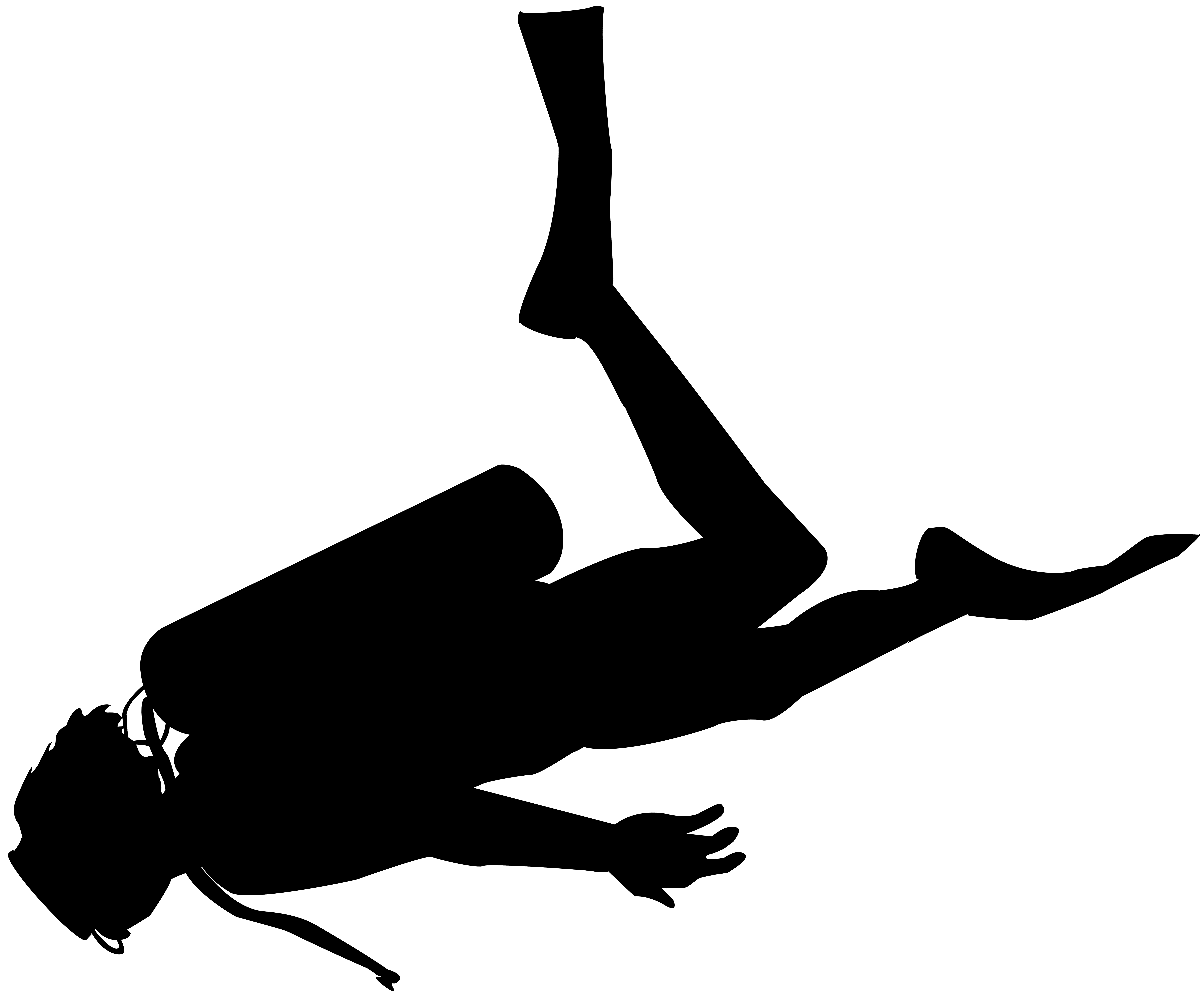Scuba Diver Silhouette PNG Clip Art.